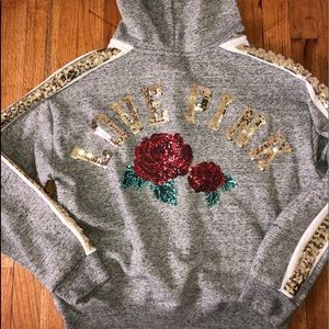 VICTORIAS SECRET PINK - Rose Bling Hoodie Jacket L
